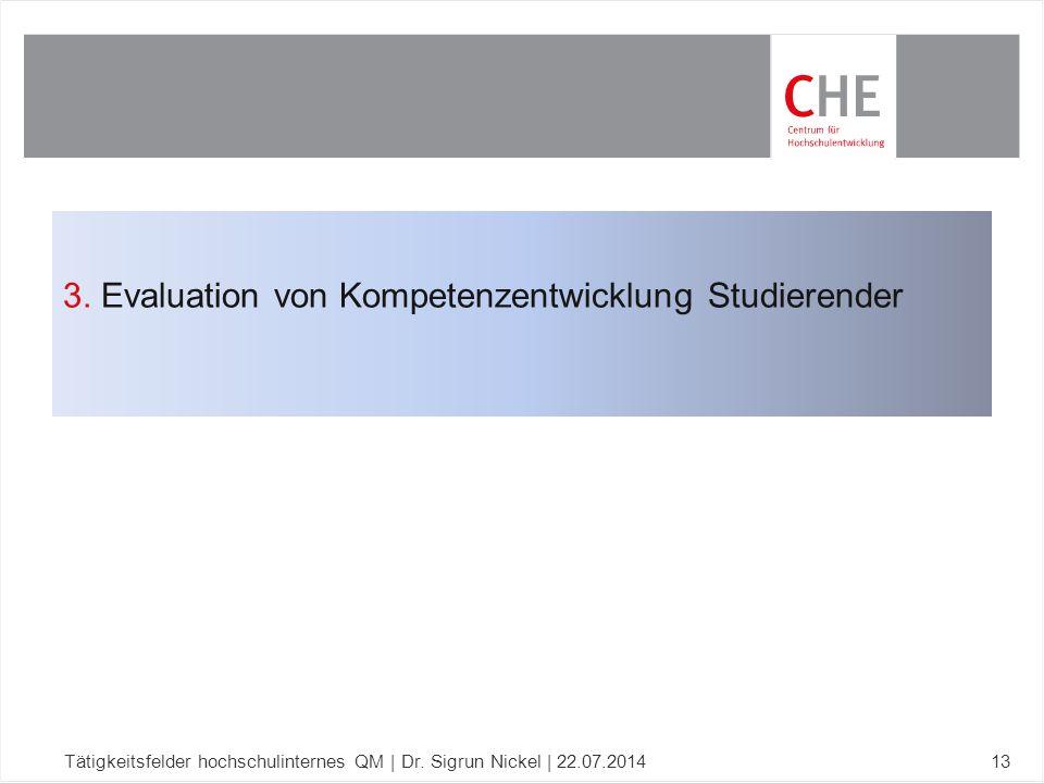 3. Evaluation von Kompetenzentwicklung Studierender Tätigkeitsfelder hochschulinternes QM | Dr. Sigrun Nickel | 22.07.201413