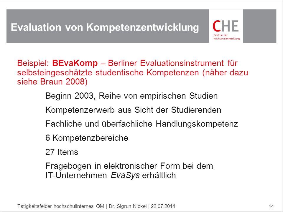 Beispiel: BEvaKomp – Berliner Evaluationsinstrument für selbsteingeschätzte studentische Kompetenzen (näher dazu siehe Braun 2008) Beginn 2003, Reihe