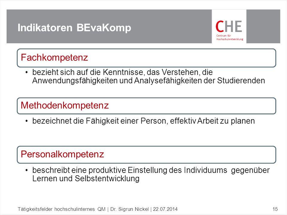 Indikatoren BEvaKomp Tätigkeitsfelder hochschulinternes QM | Dr. Sigrun Nickel | 22.07.201415 Fachkompetenz bezieht sich auf die Kenntnisse, das Verst