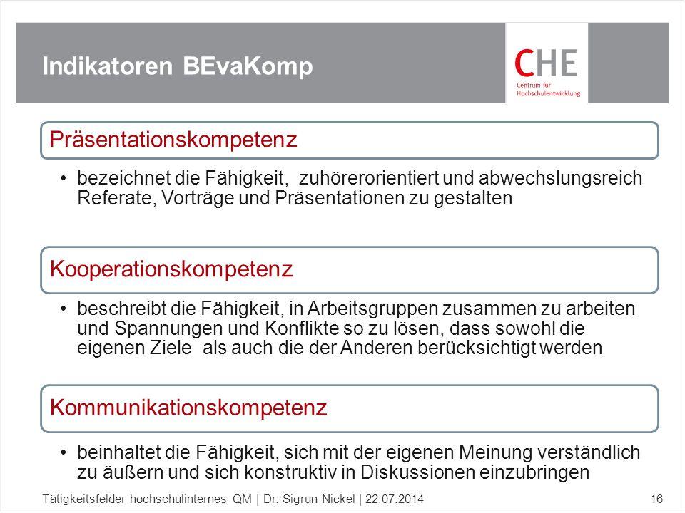 Indikatoren BEvaKomp Tätigkeitsfelder hochschulinternes QM | Dr. Sigrun Nickel | 22.07.201416 Präsentationskompetenz bezeichnet die Fähigkeit, zuhörer