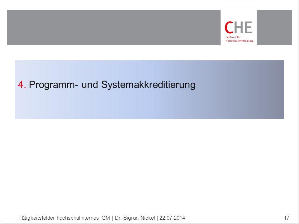 4. Programm- und Systemakkreditierung Tätigkeitsfelder hochschulinternes QM | Dr. Sigrun Nickel | 22.07.201417