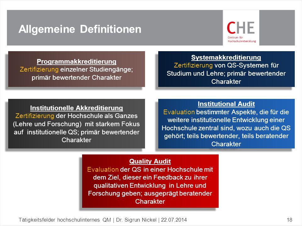 Allgemeine Definitionen Institutional Audit Evaluation bestimmter Aspekte, die für die weitere institutionelle Entwicklung einer Hochschule zentral si