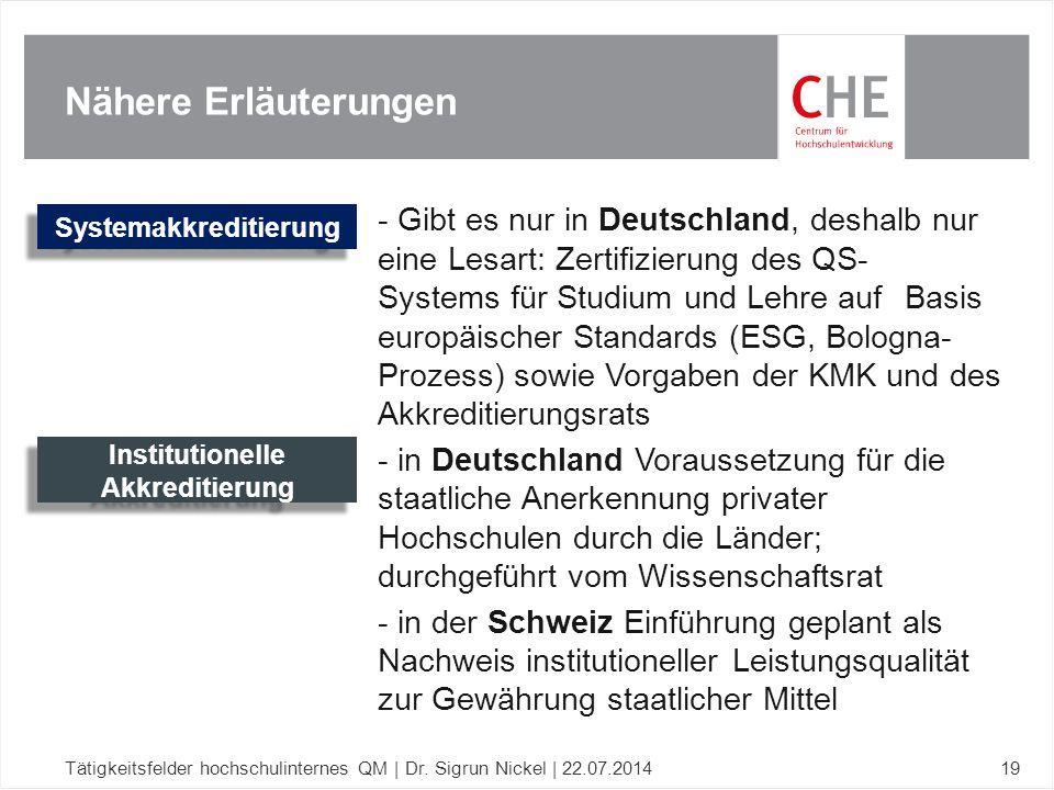 Nähere Erläuterungen Tätigkeitsfelder hochschulinternes QM | Dr. Sigrun Nickel | 22.07.201419 - Gibt es nur in Deutschland, deshalb nur eine Lesart: Z