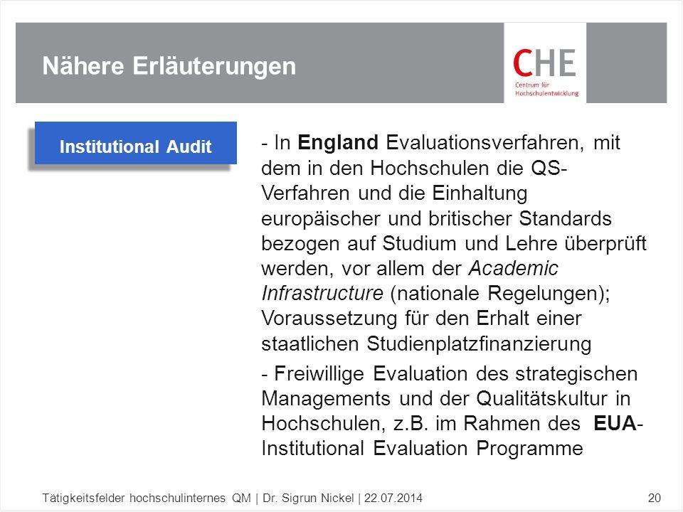 Nähere Erläuterungen Tätigkeitsfelder hochschulinternes QM | Dr. Sigrun Nickel | 22.07.201420 - In England Evaluationsverfahren, mit dem in den Hochsc