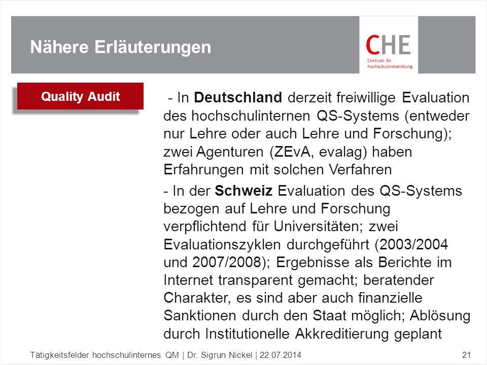 Nähere Erläuterungen Tätigkeitsfelder hochschulinternes QM | Dr. Sigrun Nickel | 22.07.201421 - In Deutschland derzeit freiwillige Evaluation des hoch