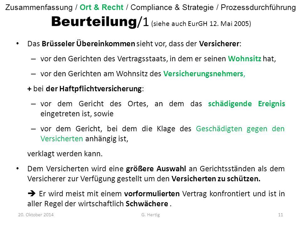 Beurteilung /1 (siehe auch EurGH 12.