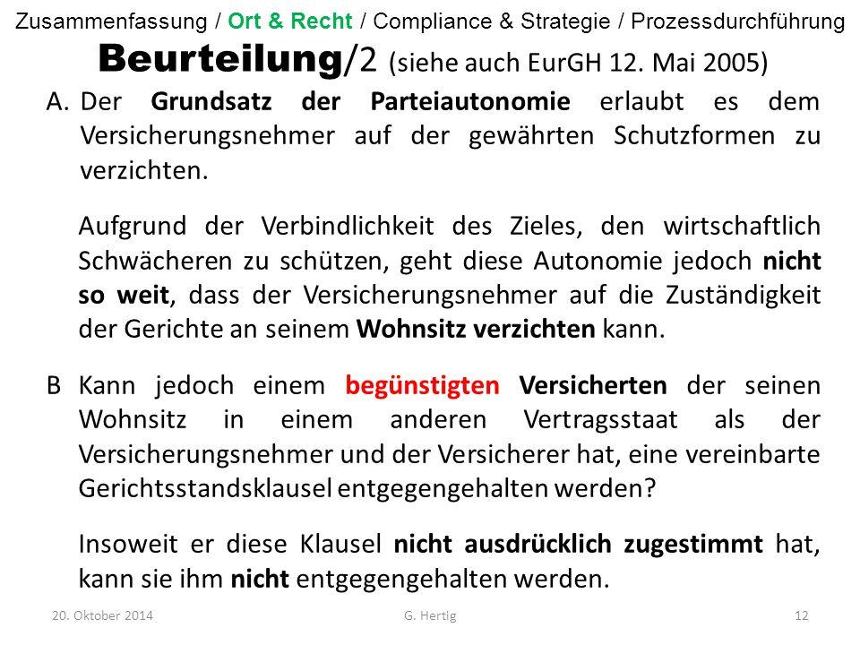 Beurteilung /2 (siehe auch EurGH 12.
