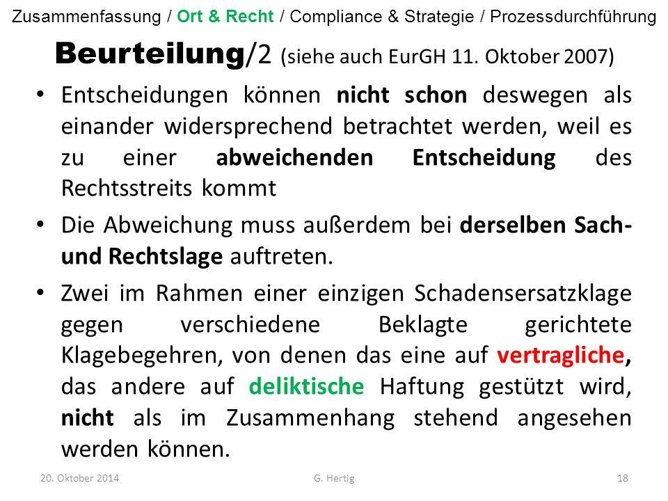 Beurteilung /2 (siehe auch EurGH 11.