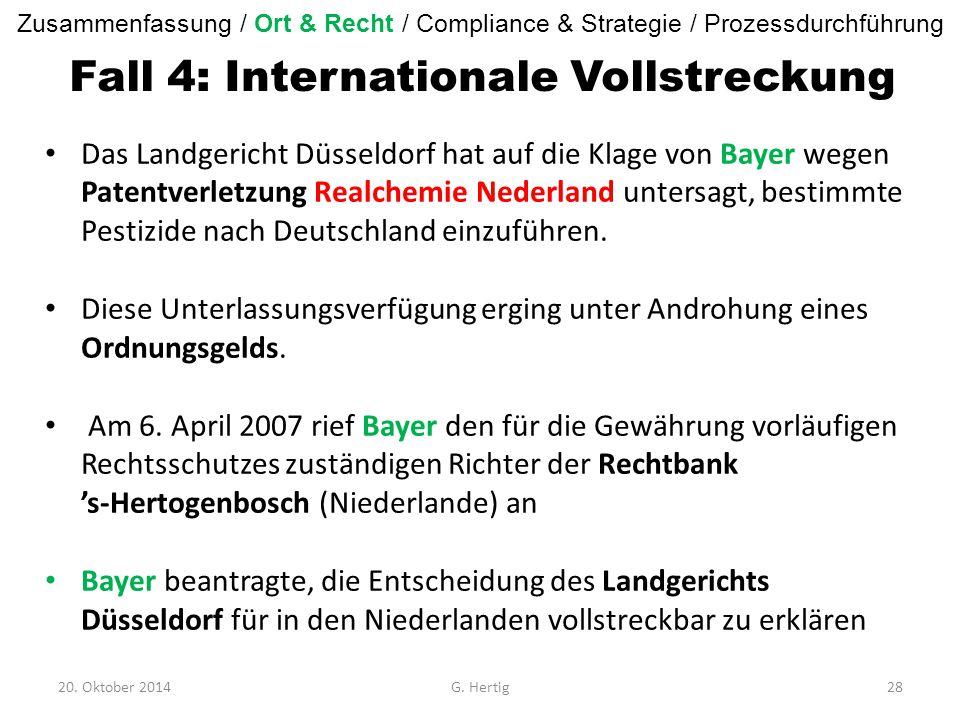 Fall 4: Internationale Vollstreckung Das Landgericht Düsseldorf hat auf die Klage von Bayer wegen Patentverletzung Realchemie Nederland untersagt, bestimmte Pestizide nach Deutschland einzuführen.