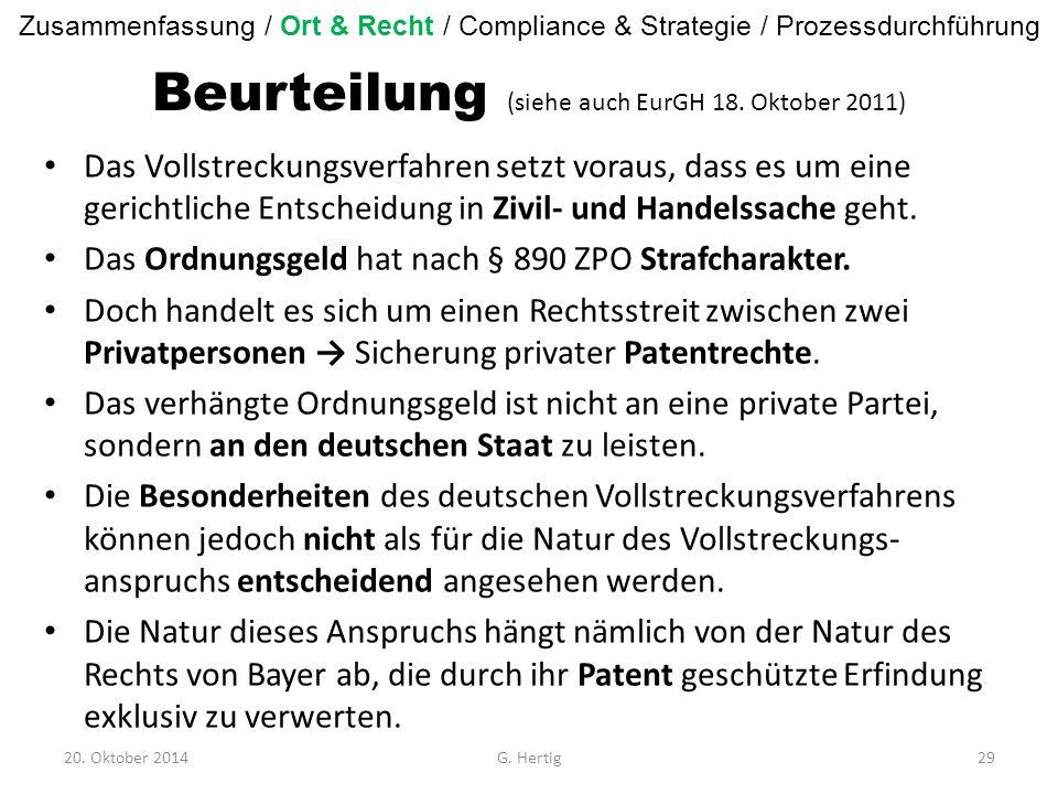 Beurteilung (siehe auch EurGH 18.