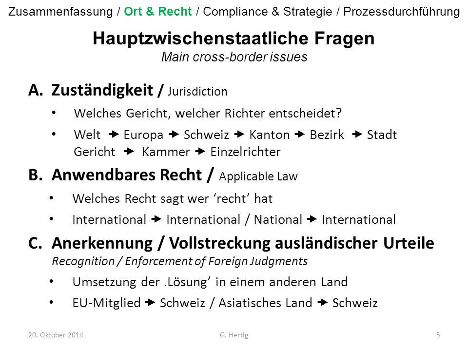 A.Zuständigkeit / Jurisdiction Welches Gericht, welcher Richter entscheidet? Welt  Europa  Schweiz  Kanton  Bezirk  Stadt Gericht  Kammer  Einz