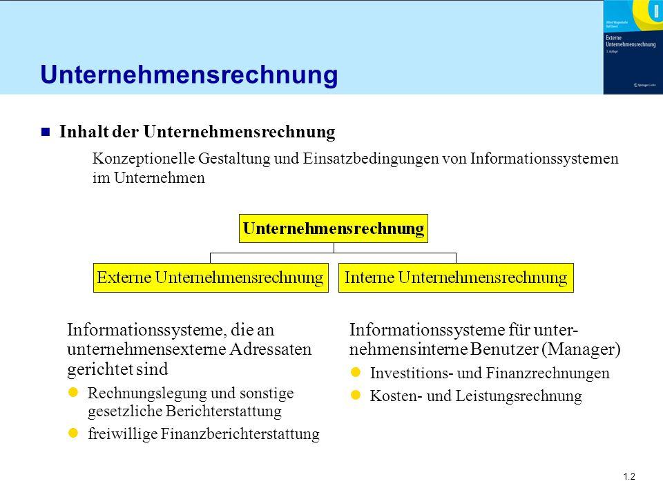 1.2 Unternehmensrechnung n Inhalt der Unternehmensrechnung Konzeptionelle Gestaltung und Einsatzbedingungen von Informationssystemen im Unternehmen In