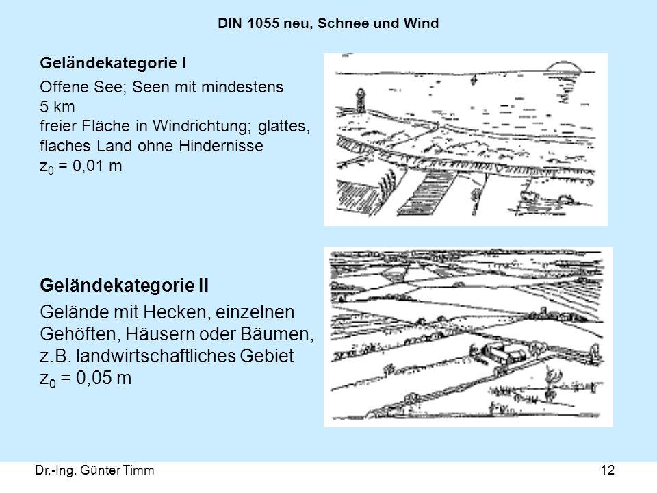 Dr.-Ing. Günter Timm12 DIN 1055 neu, Schnee und Wind Geländekategorie I Offene See; Seen mit mindestens 5 km freier Fläche in Windrichtung; glattes, f