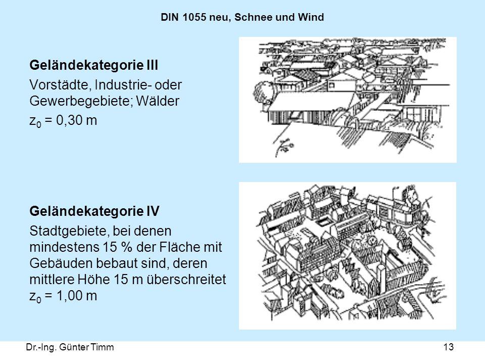 Dr.-Ing. Günter Timm13 DIN 1055 neu, Schnee und Wind Geländekategorie III Vorstädte, Industrie- oder Gewerbegebiete; Wälder z 0 = 0,30 m Geländekatego