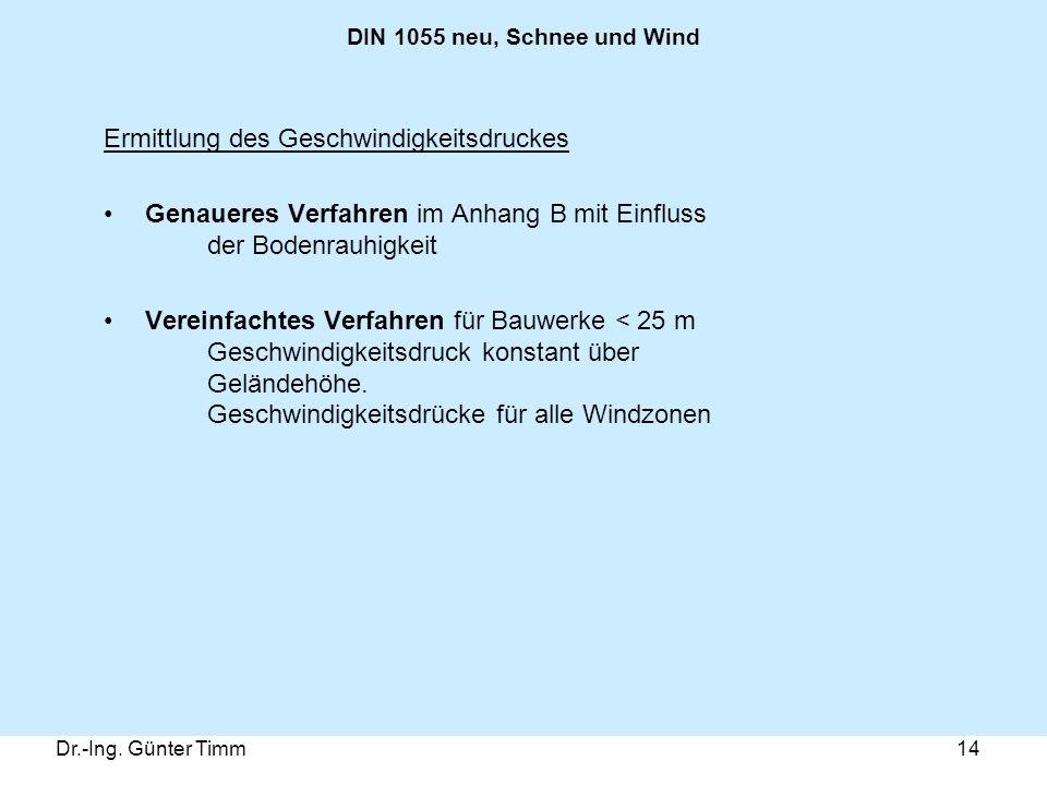 Dr.-Ing. Günter Timm14 DIN 1055 neu, Schnee und Wind Ermittlung des Geschwindigkeitsdruckes Genaueres Verfahren im Anhang B mit Einfluss der Bodenrauh