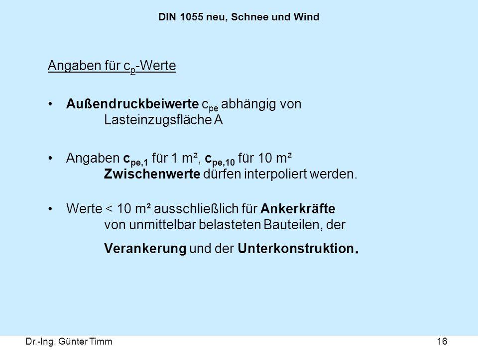 Dr.-Ing. Günter Timm16 DIN 1055 neu, Schnee und Wind Angaben für c p -Werte Außendruckbeiwerte c pe abhängig von Lasteinzugsfläche A Angaben c pe,1 fü