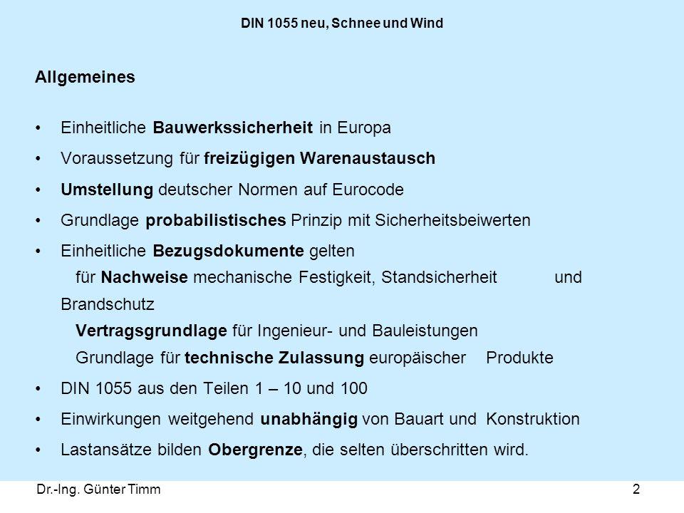 Dr.-Ing. Günter Timm2 DIN 1055 neu, Schnee und Wind Allgemeines Einheitliche Bauwerkssicherheit in Europa Voraussetzung für freizügigen Warenaustausch