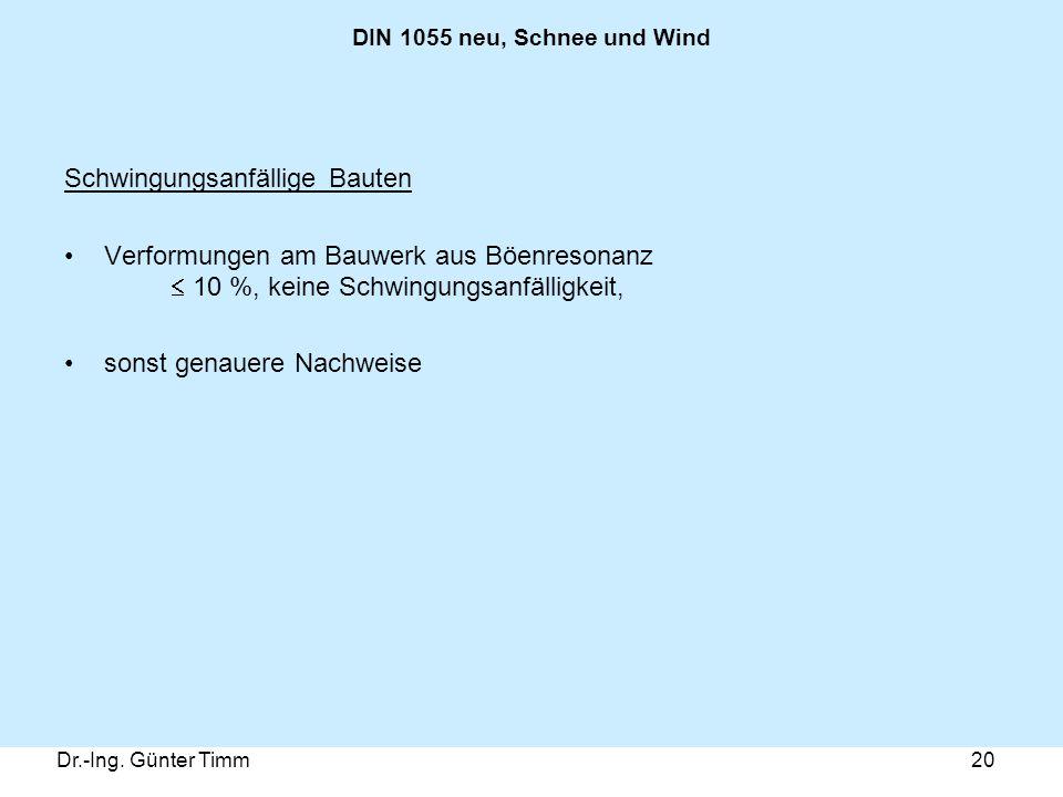 Dr.-Ing. Günter Timm20 DIN 1055 neu, Schnee und Wind Schwingungsanfällige Bauten Verformungen am Bauwerk aus Böenresonanz  10 %, keine Schwingungsanf