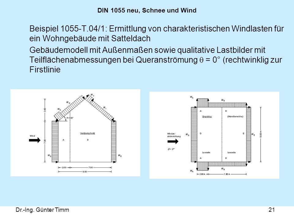 Dr.-Ing. Günter Timm21 DIN 1055 neu, Schnee und Wind Beispiel 1055-T.04/1: Ermittlung von charakteristischen Windlasten für ein Wohngebäude mit Sattel