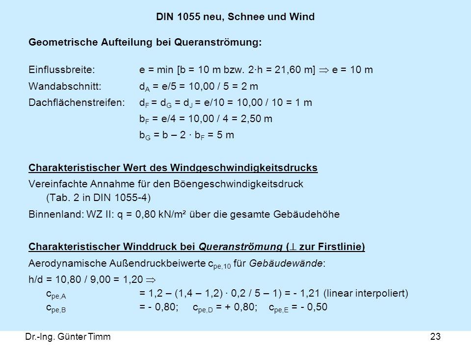 Dr.-Ing. Günter Timm23 DIN 1055 neu, Schnee und Wind Geometrische Aufteilung bei Queranströmung: Einflussbreite: e = min [b = 10 m bzw. 2·h = 21,60 m]