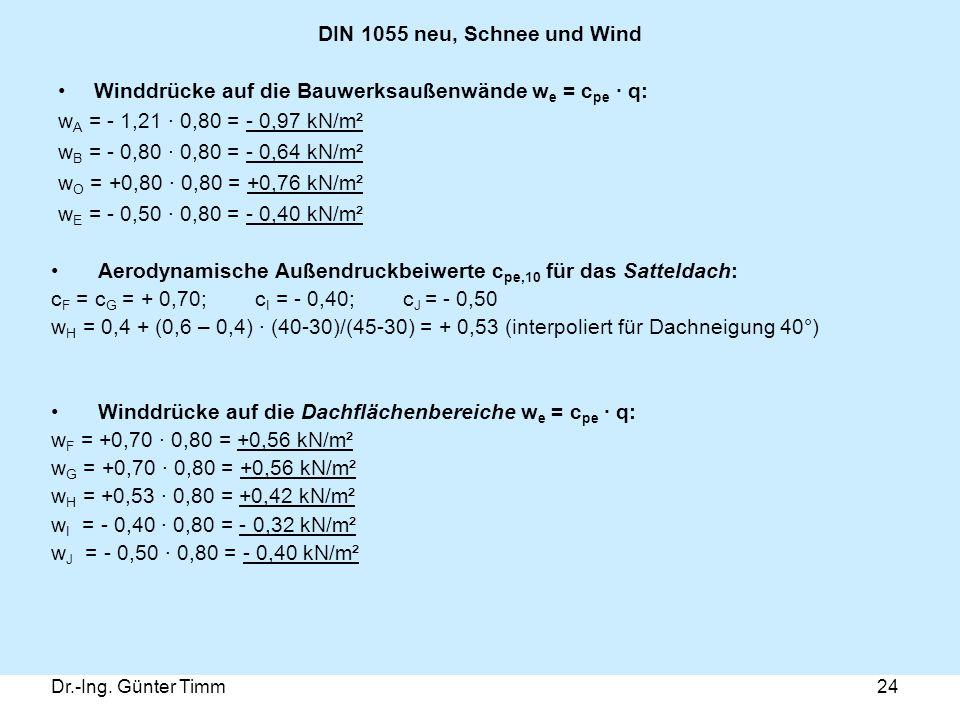 Dr.-Ing. Günter Timm24 DIN 1055 neu, Schnee und Wind Winddrücke auf die Bauwerksaußenwände w e = c pe · q: w A = - 1,21 · 0,80 = - 0,97 kN/m² w B = -