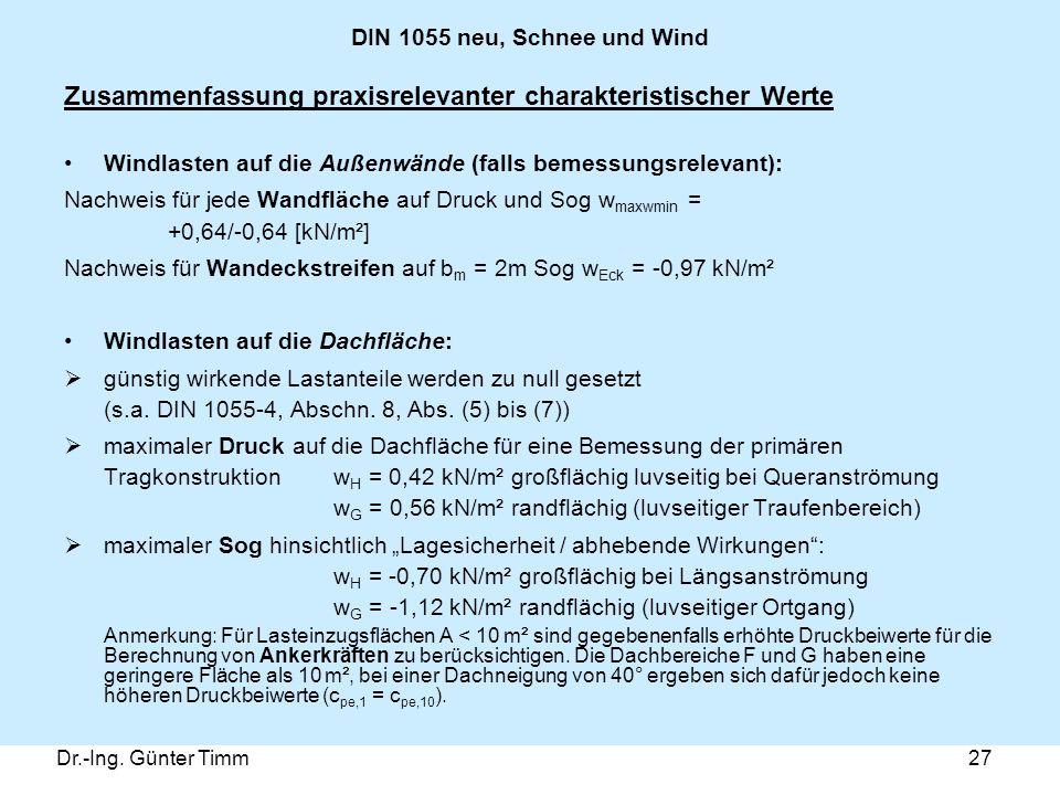Dr.-Ing. Günter Timm27 DIN 1055 neu, Schnee und Wind Zusammenfassung praxisrelevanter charakteristischer Werte Windlasten auf die Außenwände (falls be