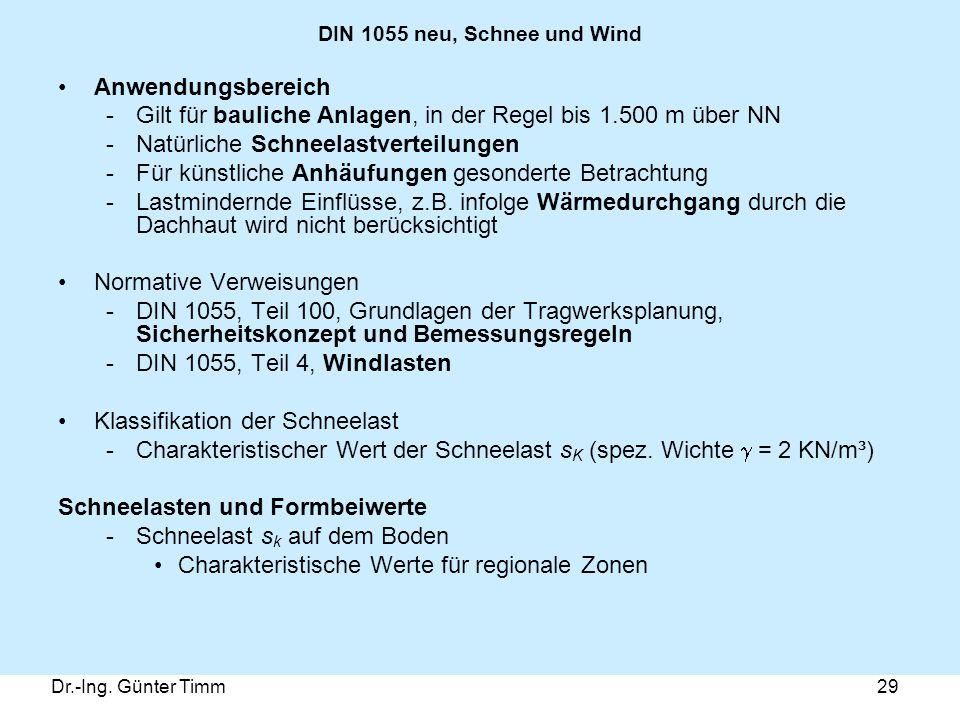 Dr.-Ing. Günter Timm29 DIN 1055 neu, Schnee und Wind Anwendungsbereich -Gilt für bauliche Anlagen, in der Regel bis 1.500 m über NN -Natürliche Schnee