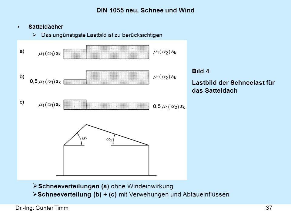 Dr.-Ing. Günter Timm37 DIN 1055 neu, Schnee und Wind Satteldächer  Das ungünstigste Lastbild ist zu berücksichtigen Bild 4 Lastbild der Schneelast fü