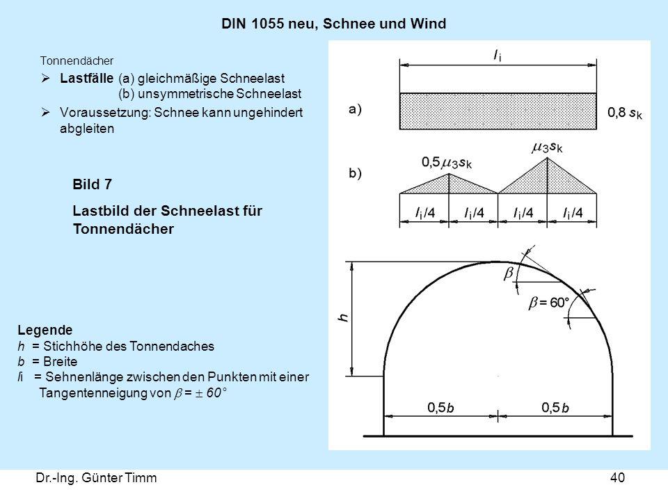 Dr.-Ing. Günter Timm40 DIN 1055 neu, Schnee und Wind Tonnendächer  Lastfälle (a) gleichmäßige Schneelast (b) unsymmetrische Schneelast  Voraussetzun