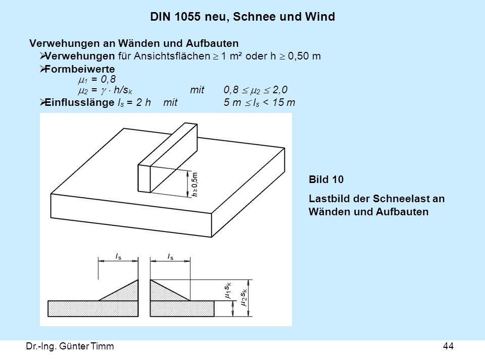 Dr.-Ing. Günter Timm44 DIN 1055 neu, Schnee und Wind Verwehungen an Wänden und Aufbauten  Verwehungen für Ansichtsflächen  1 m² oder h  0,50 m  Fo