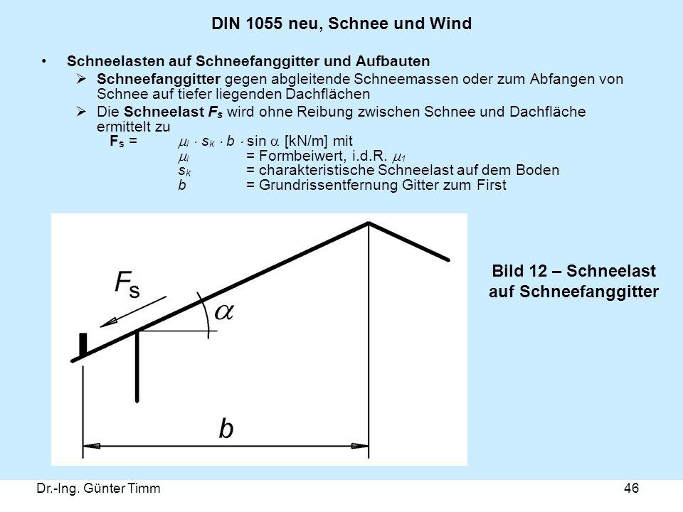 Dr.-Ing. Günter Timm46 DIN 1055 neu, Schnee und Wind Schneelasten auf Schneefanggitter und Aufbauten  Schneefanggitter gegen abgleitende Schneemassen