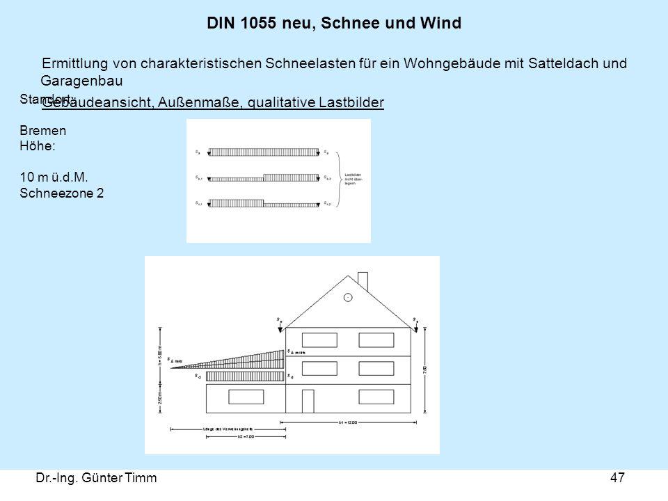 Dr.-Ing. Günter Timm47 DIN 1055 neu, Schnee und Wind Ermittlung von charakteristischen Schneelasten für ein Wohngebäude mit Satteldach und Garagenbau