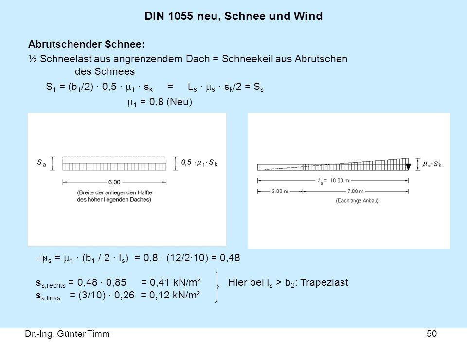Dr.-Ing. Günter Timm50 DIN 1055 neu, Schnee und Wind Abrutschender Schnee: ½ Schneelast aus angrenzendem Dach = Schneekeil aus Abrutschen des Schnees