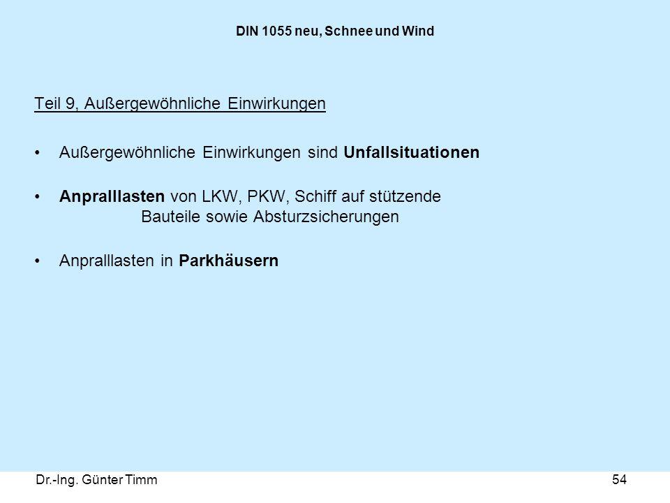 Dr.-Ing. Günter Timm54 DIN 1055 neu, Schnee und Wind Teil 9, Außergewöhnliche Einwirkungen Außergewöhnliche Einwirkungen sind Unfallsituationen Anpral