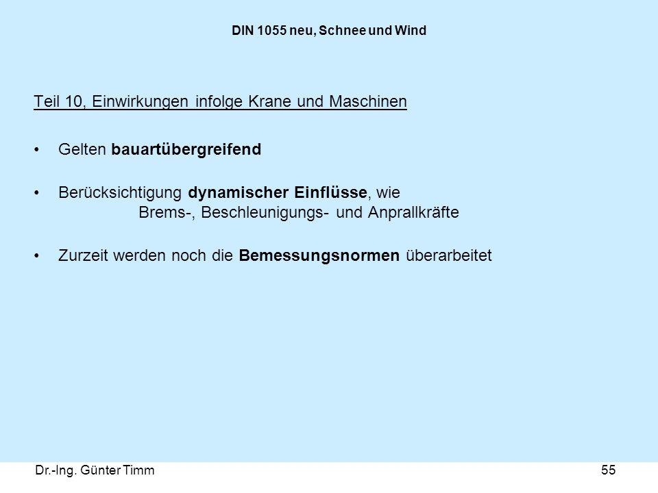 Dr.-Ing. Günter Timm55 DIN 1055 neu, Schnee und Wind Teil 10, Einwirkungen infolge Krane und Maschinen Gelten bauartübergreifend Berücksichtigung dyna
