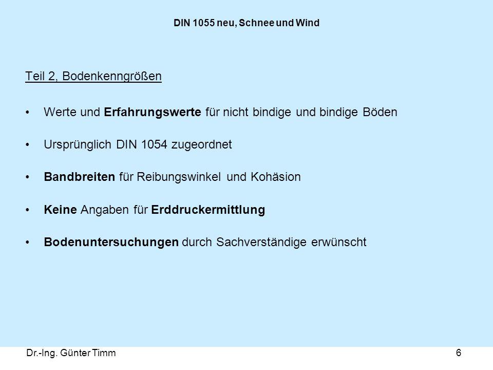 Dr.-Ing. Günter Timm6 DIN 1055 neu, Schnee und Wind Teil 2, Bodenkenngrößen Werte und Erfahrungswerte für nicht bindige und bindige Böden Ursprünglich