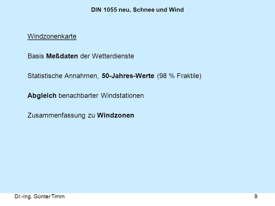 Dr.-Ing. Günter Timm9 DIN 1055 neu, Schnee und Wind Windzonenkarte Basis Meßdaten der Wetterdienste Statistische Annahmen, 50-Jahres-Werte (98 % Frakt