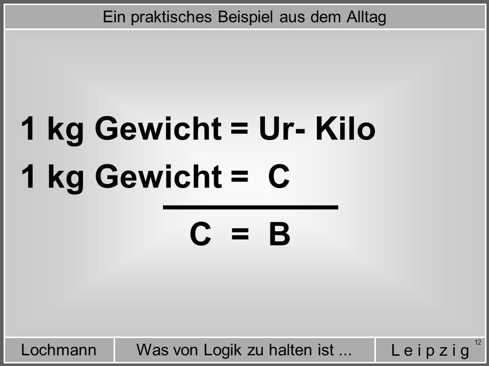 L e i p z i g Was von Logik zu halten ist...Lochmann 12 1 kg Gewicht = Ur- Kilo 1 kg Gewicht = C C = B Ein praktisches Beispiel aus dem Alltag