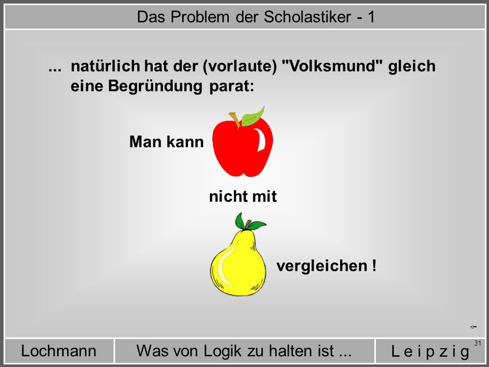L e i p z i g Was von Logik zu halten ist...Lochmann 31...
