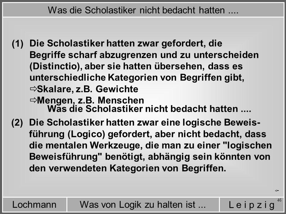 L e i p z i g Was von Logik zu halten ist...Lochmann 46 Was die Scholastiker nicht bedacht hatten....