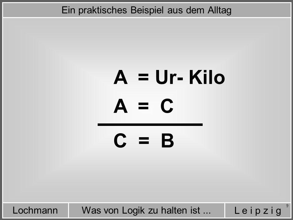 L e i p z i g Was von Logik zu halten ist...Lochmann 10 Metall-Teil = Ur- Kilo A = C C = B Ein praktisches Beispiel aus dem Alltag