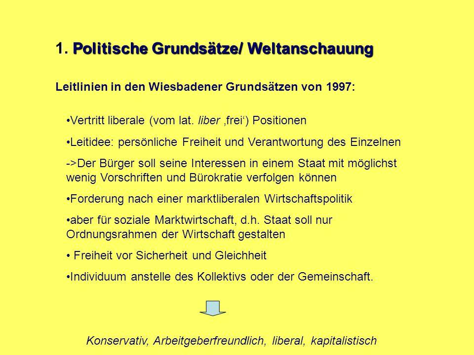 1. Politische Grundsätze/ Weltanschauung Vertritt liberale (vom lat. liber 'frei') Positionen Leitidee: persönliche Freiheit und Verantwortung des Ein