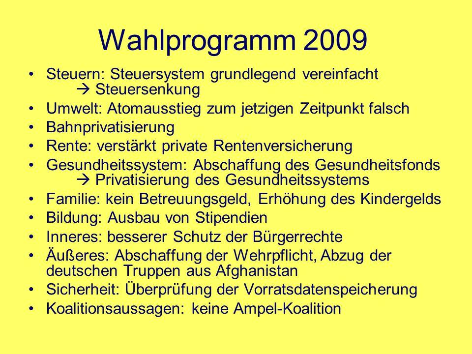 Wahlprogramm 2009 Steuern: Steuersystem grundlegend vereinfacht  Steuersenkung Umwelt: Atomausstieg zum jetzigen Zeitpunkt falsch Bahnprivatisierung