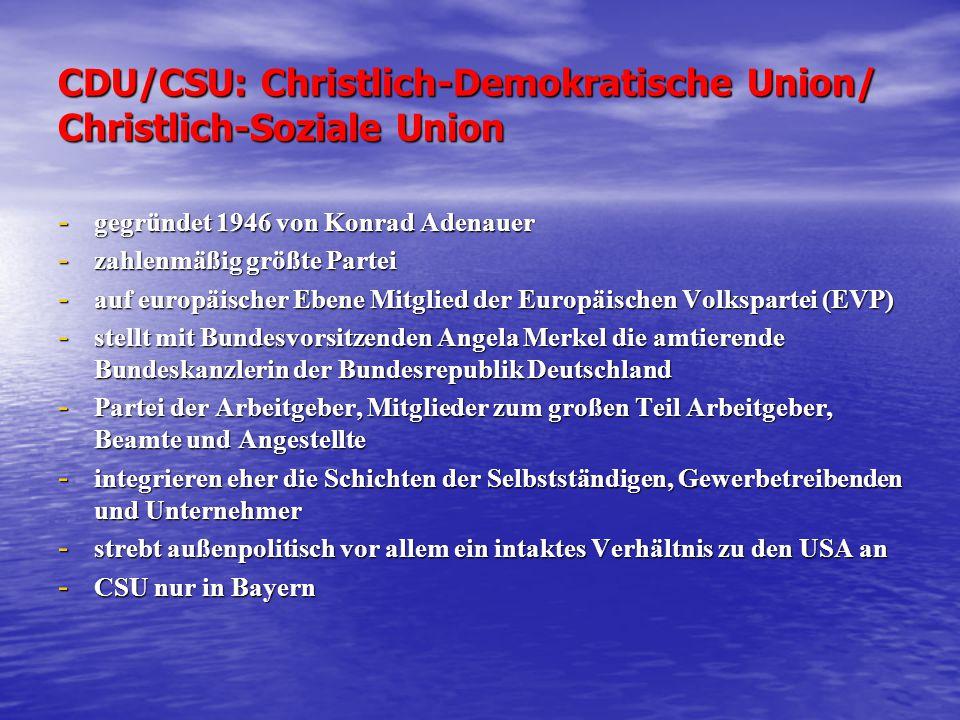 CDU/CSU: Christlich-Demokratische Union/ Christlich-Soziale Union - gegründet 1946 von Konrad Adenauer - zahlenmäßig größte Partei - auf europäischer