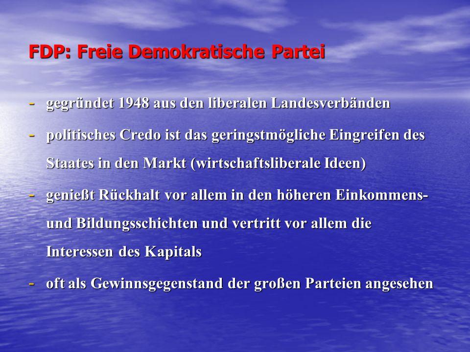 FDP: Freie Demokratische Partei - gegründet 1948 aus den liberalen Landesverbänden - politisches Credo ist das geringstmögliche Eingreifen des Staates