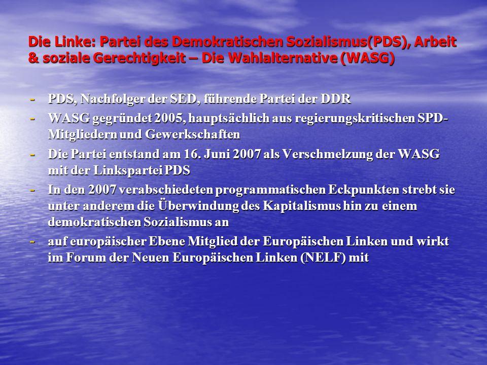 Die Linke: Partei des Demokratischen Sozialismus(PDS), Arbeit & soziale Gerechtigkeit – Die Wahlalternative (WASG) - PDS, Nachfolger der SED, führende