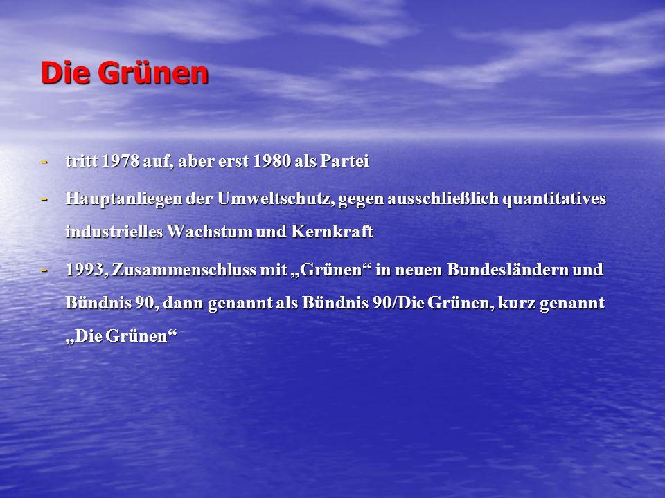 Die Grünen - tritt 1978 auf, aber erst 1980 als Partei - Hauptanliegen der Umweltschutz, gegen ausschließlich quantitatives industrielles Wachstum und