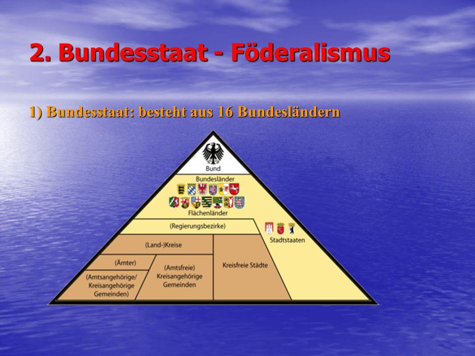 2) Bundeskanzler - bestimmt die Richtlinien der Politik und trägt dafür die Verantwortung - gewählt auf Vorschlag des Bundespräsidenten von der Mehrheit des Bundestags - Bundesminister werden vom Bundespräsidenten auf Vorschlag des Bundeskanzlers - Bundesminister werden vom Bundespräsidenten auf Vorschlag des Bundeskanzlers ernannt - - wird erst gestürzt, wenn ihm der Bundestag das Mißtrauen dadurch ausspricht, dass dieser mit der Mehrheit seiner Mitglieder einen neuen Bundeskanzler wählt