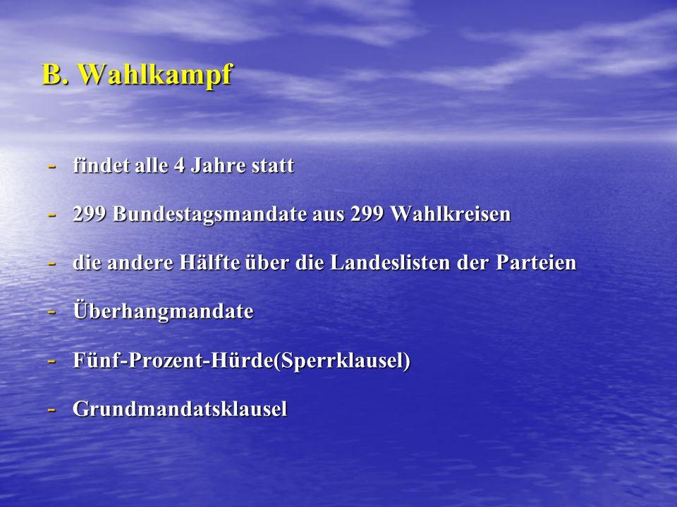 B. Wahlkampf - findet alle 4 Jahre statt - 299 Bundestagsmandate aus 299 Wahlkreisen - die andere Hälfte über die Landeslisten der Parteien - Überhang