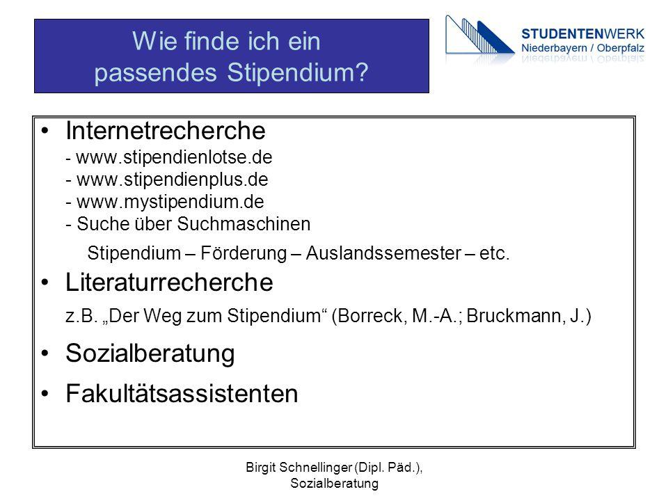 Birgit Schnellinger (Dipl. Päd.), Sozialberatung Internetrecherche - www.stipendienlotse.de - www.stipendienplus.de - www.mystipendium.de - Suche über